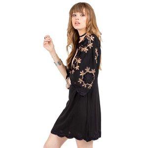 Cleobella Black Matilda embroidered mini dress